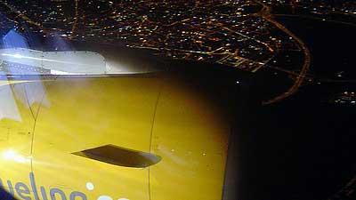 Vueling plane over Barcelona
