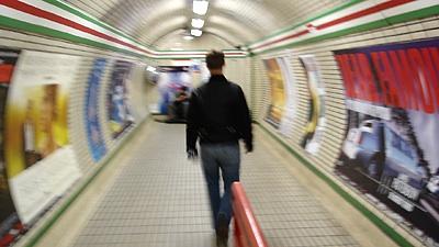 Pete walking in the London Tube