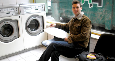 Tom doing his laundry in Brussels