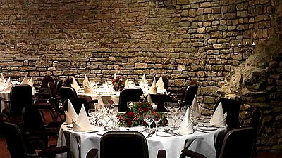 A reception set up in the ruins of St. Donatian's Church, now a Crowne Plaza. Photo by the Crowne Plaza Hotel.