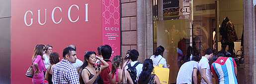 Rome's Gucci store on Via dei Condotti, as photographed and free—haute couture shopping bags, before you head home?