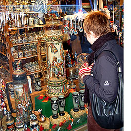 Shopping for beer steins in Munich