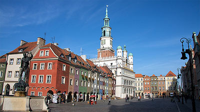 The colorful town square of Poznan, Poland. Photo by giannisl