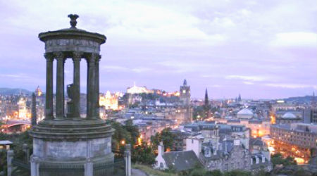 Edinburgh by night, a gorgeous scene from Calton Hill. Photo by Andy Hayes