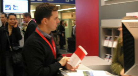 "Tom ""working it"" at last year's ITB travel show in Berlin. Alas, a tad blurry..."