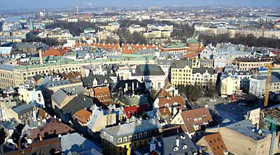 Riga, Latvia, as seen from the observation deck of St. Peter's church.