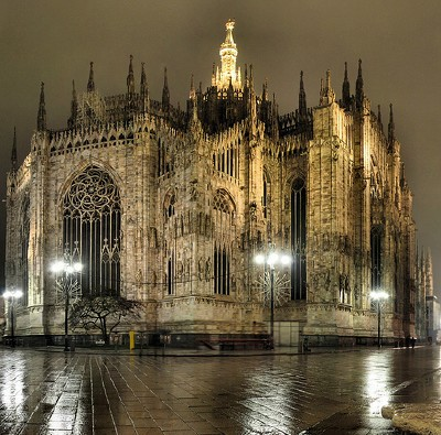 Milan's Duomo by night; photo by Panorama