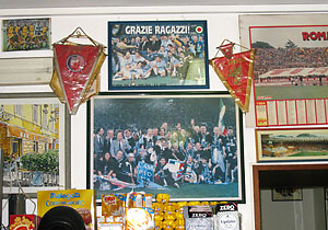 1970's-era football memorabilia at the San Calisto.