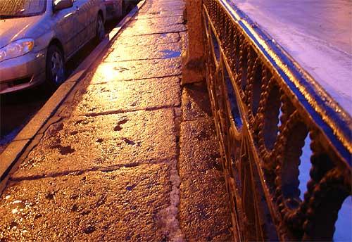 Slippery sidewalks of St. Petersburg