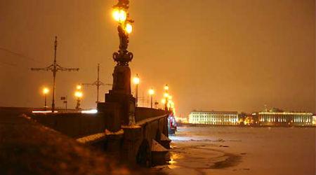 The Troitskiy Most, the bridge spanning the Neva river.