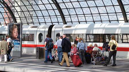 A Deutsche Bahn train in Berlin's main station. Photo by hidden europe.