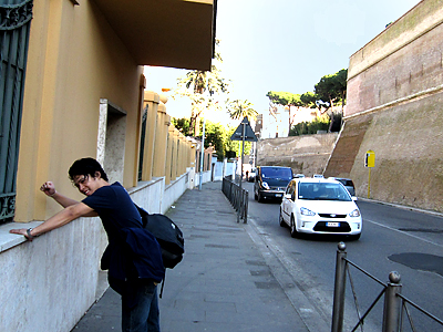 Cheapo Reinhardt Suarez braces a wall in Rome, after being lost in the hills for four hours.