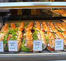 Baguette sanwiches on display. Photo by Yesris.