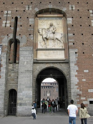 Entrance to Sforza Castle in Milan; Photo by Bernt Rostad