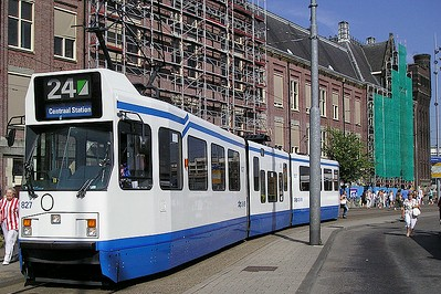 Amsterdam tram; Photo by vitalyzator