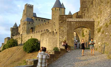 "A steep climb up to ""la Cit&eacute"" in Carcassonne"