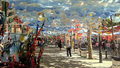 A street in Gracia decorated for Festa de Gracia; photo by Jaume Meneses