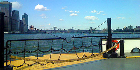 All aboard the Governors Island ferry. Photo by Salim Virji.