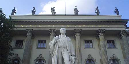 A statue in front of Humboldt University in Berlin. Photo by Zephyrinus