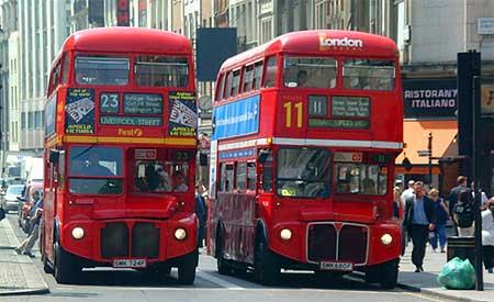 London's famous double-decker buses. Photo by Salim Virji.