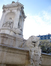 A lion sculpture at Église Saint-Sulpice.