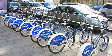 One of the Stockholm City Bikes racks. Photo by ITDP-Europe.