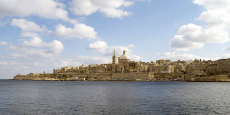 The Maltese capital, Valletta, seen from across the water. Pho