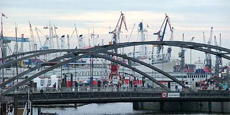 A bridge on the harbor in Hamburg. Photo by Audrey Sykes.