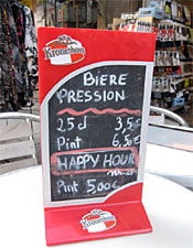A happy hour sign