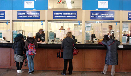Buying train tickets in Venice. Photos by Tom Meyers