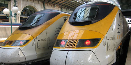 Eurostar trains in Paris