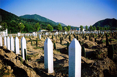 A cemetery in Srebrenica. Photo by Elekeku