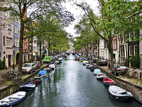 A canal in Amsterdam's Old Center