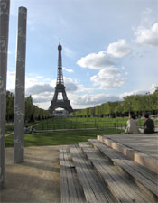 The Eiffel Tower seen from the Wall of Peace in Paris