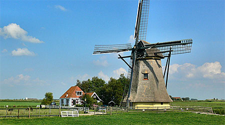 A windmill in Friesland, the Netherlands—not Holland. Photo: Pieter Mesterd