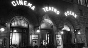 The Odeon theater at night