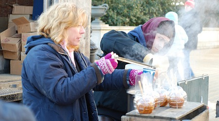 Ladling up some hot apple cider at the Grand Army Plaza farmers' market. Photo: Howard Walfish