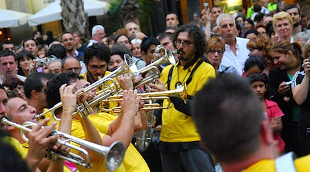 Horns a-blaring at La Merce festival in Barcelona. Photo: Thomas Perry