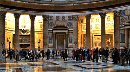 The wet floors of the Pantheon, a great rainy-day spot in Rome. Photo: Jules Stoop