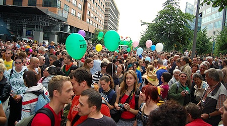 Thousands celebrate LGBT rights on Christopher Street Day in June. Photo: OK23