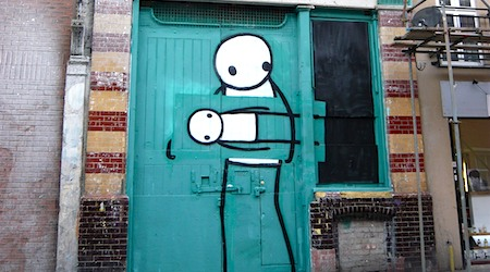 Stik's people hover in doorways and on billboards throughout the city. All photos by Nina Derham