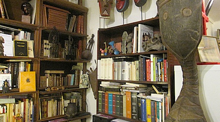 Vintage reading lamps, antiques and books at the Librairie Robert Jonard. All photos by Theadora Brack