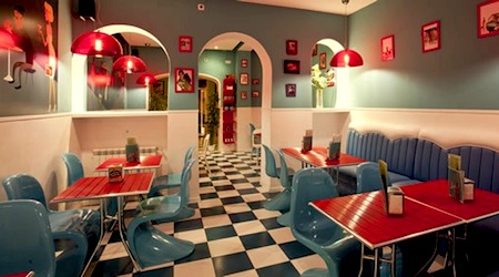 Madrid's Lunch Box Restaurant and Tiki Room is one hip burger shack. Photo: Lunch Box Restaurant