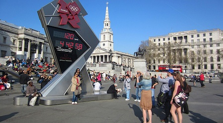 London's Olympic Countdown Clock at Trafalgar Square. Photo: Daniel Richardson
