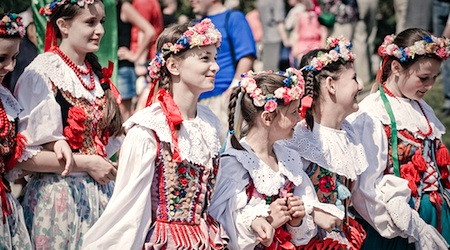 Girls marching in a Constitution Day parade in Szczecin, Poland. Photo: Wlodi