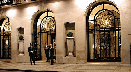 The entrance to the George V in Paris. Walk on in! Photo: Alan Light