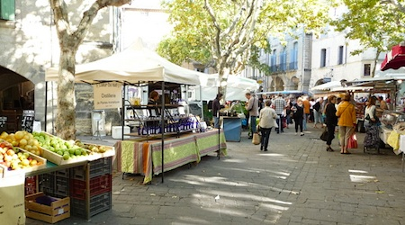 The weekly market in Uzes draws visitors from the entire region. All photos by Bill Fogarty