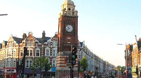 The Crouch End Clock Tower is the focal point of the neighborhood. Ph