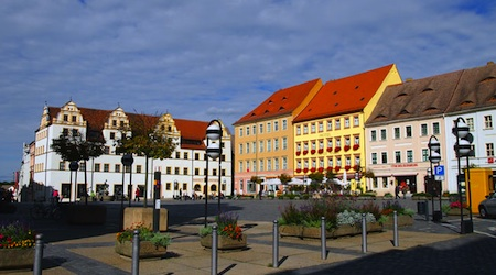Historic ensemble on the main square in Torgau, Germany. Photos © hidden europe
