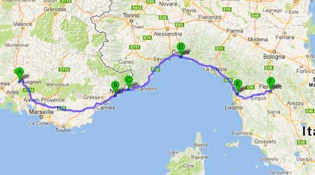 The proposed journey from Avignon - Nice - Ventimiglia - Genoa - Pisa - Florence.